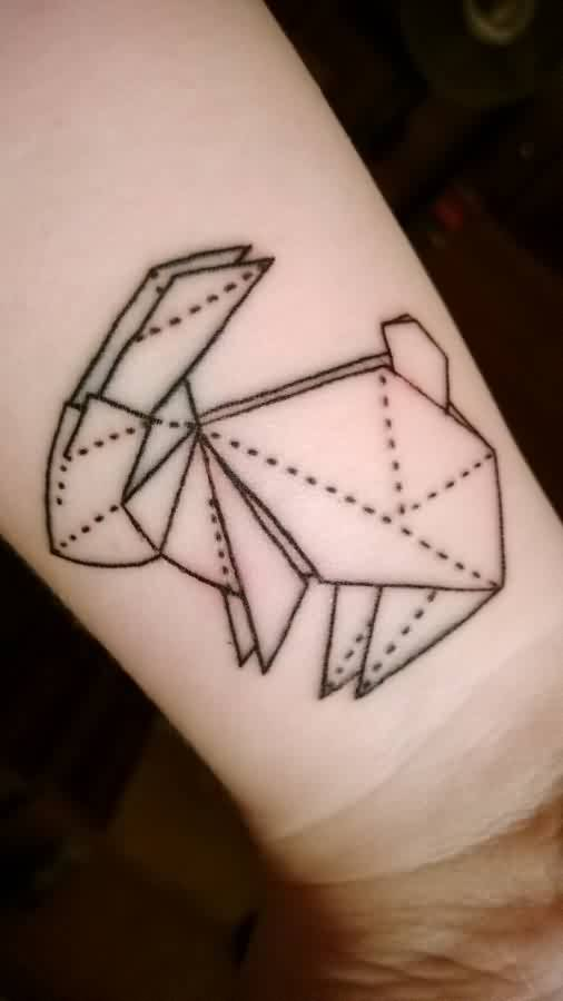 Origami Rabbit Tattoo On Inner Wrist