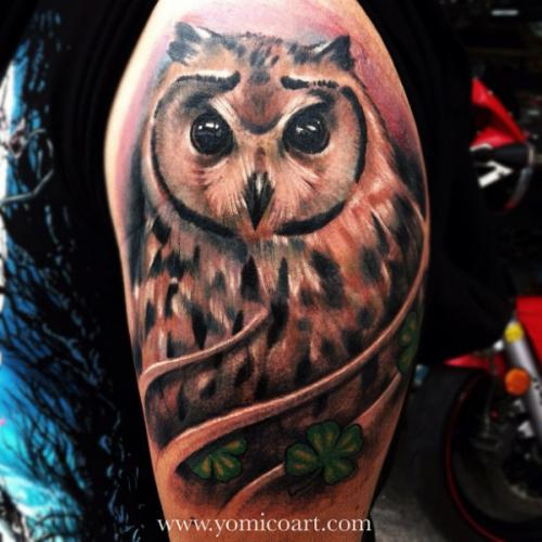 Original Owl And Clovers Tattoos On Arm