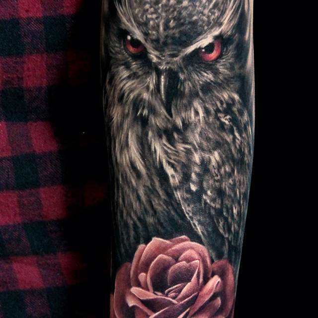 Original Owl And Rose Tattoos On Sleeve
