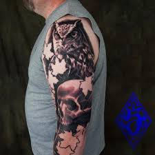 Original Owl And Skull Tattoos On Sleeve