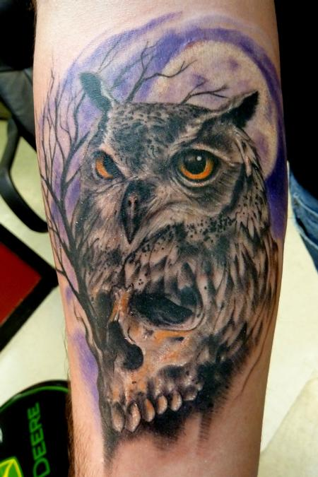 Original Owl And Skull Tattoos