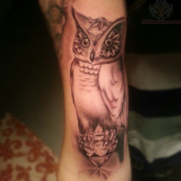 Original Owl On Diamond Tattoo