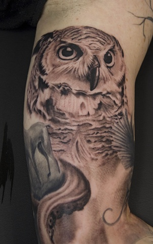 Original Owl Tattoo On Arm