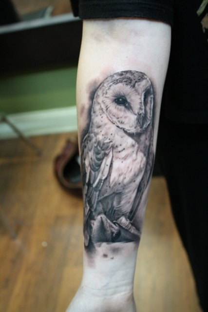 Original Owl Tattoo On Forearm