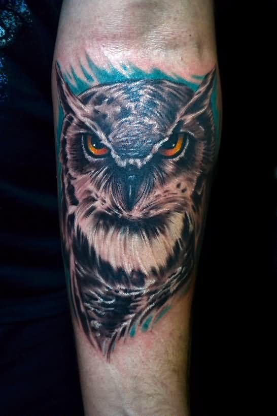 Original Owl Tattoo On The Arm