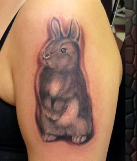 Original Standing Rabbit Tattoo On Arm