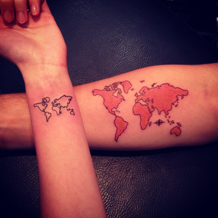 Outline And Red Map Tattoos