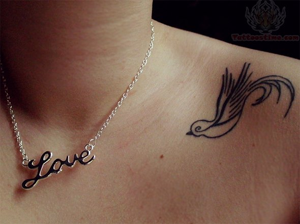 Outline Bird Tattoo On Left Collarbone