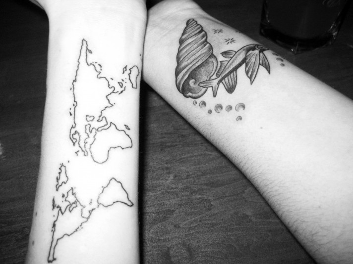 Outline Map And Fish Tattoos