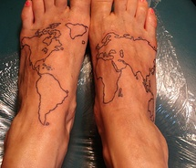 Outline Map Tattoos On Feet