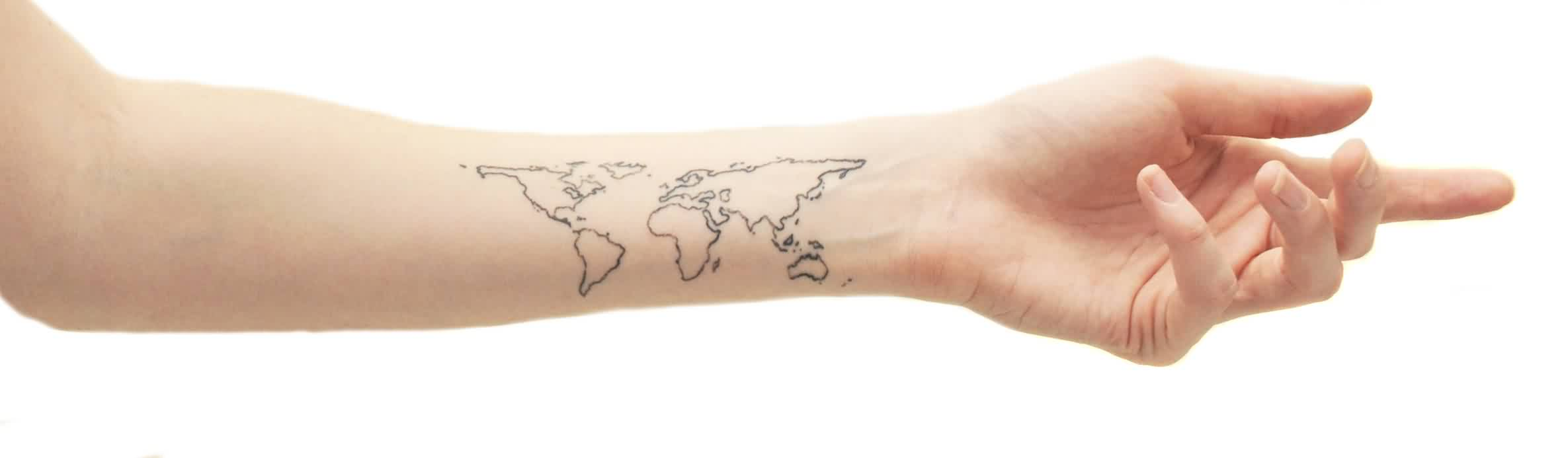 Outline Map Tattoos On Lower Arm