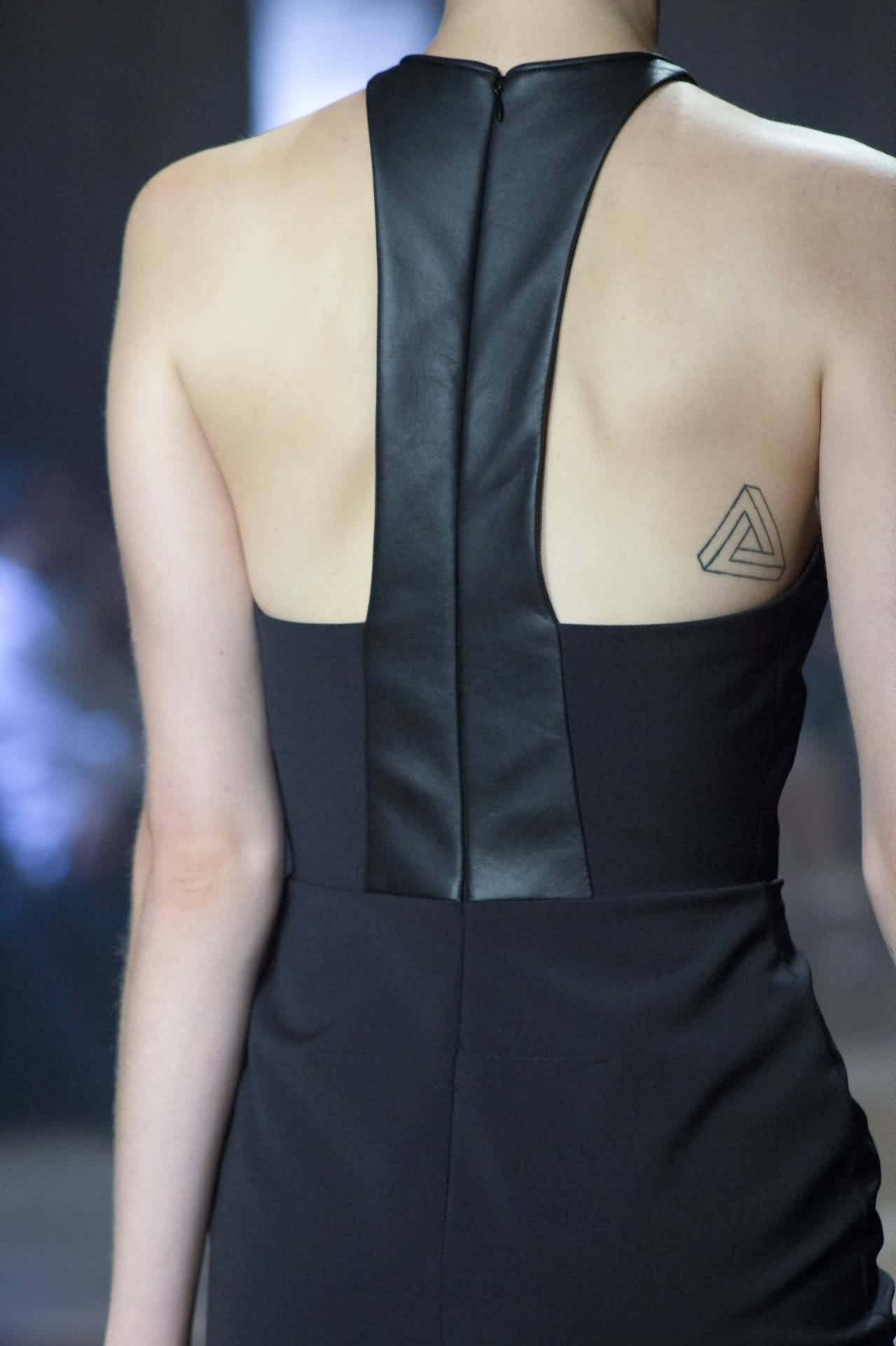 Outline Penrose Triangle Tattoo On Right Back Shoulder