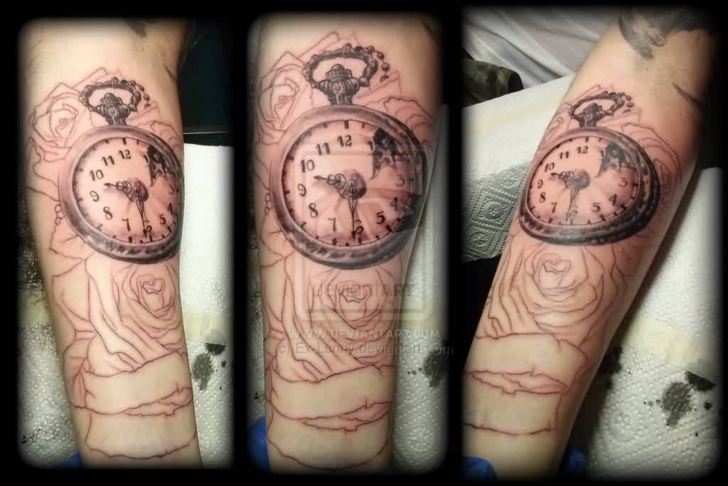 Outline Roses And Clock Tattoos