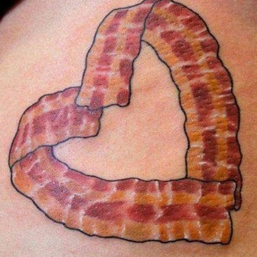 Outstanding Pizza Heart Tattoo