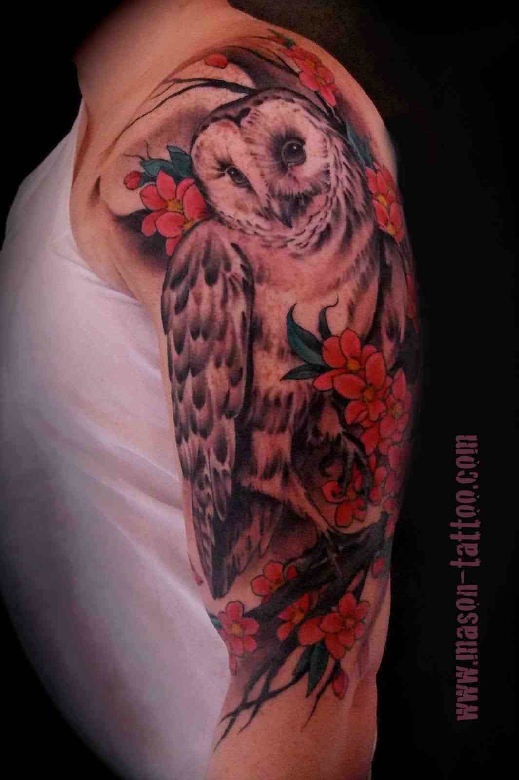 Owl And Blossoms Tattoos On Half Sleeve