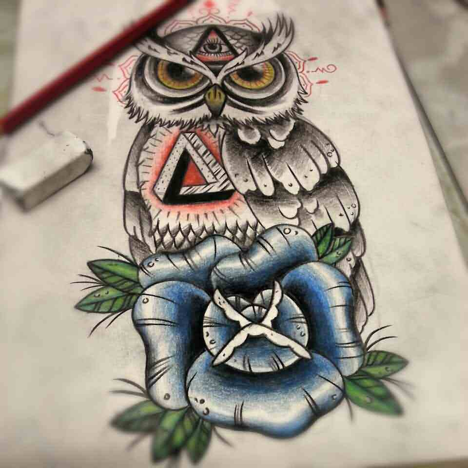 Owl And Blue Rose Tattoos Drawing