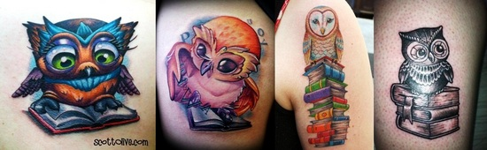 Owl And Book Tattoo Images