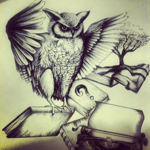 Owl And Books Tattoo Designs