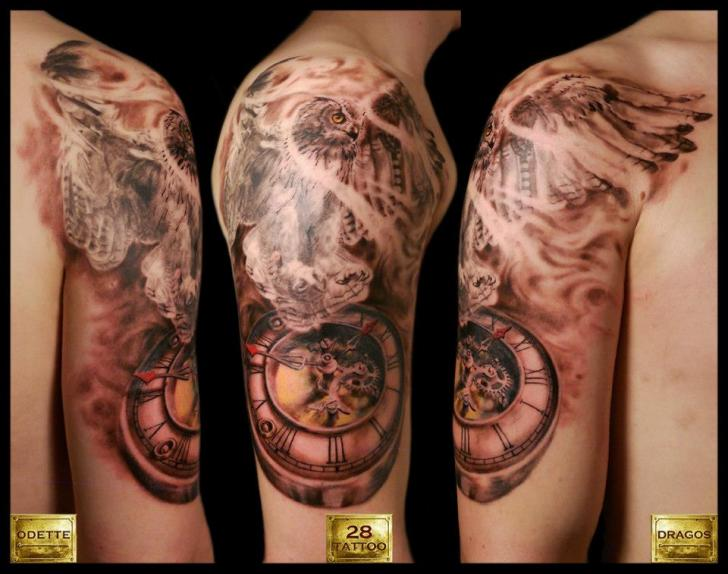 Owl And Color Clock Tattoos On Shoulder