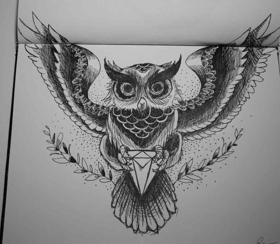 Owl And Diamond Tattoo Design Page