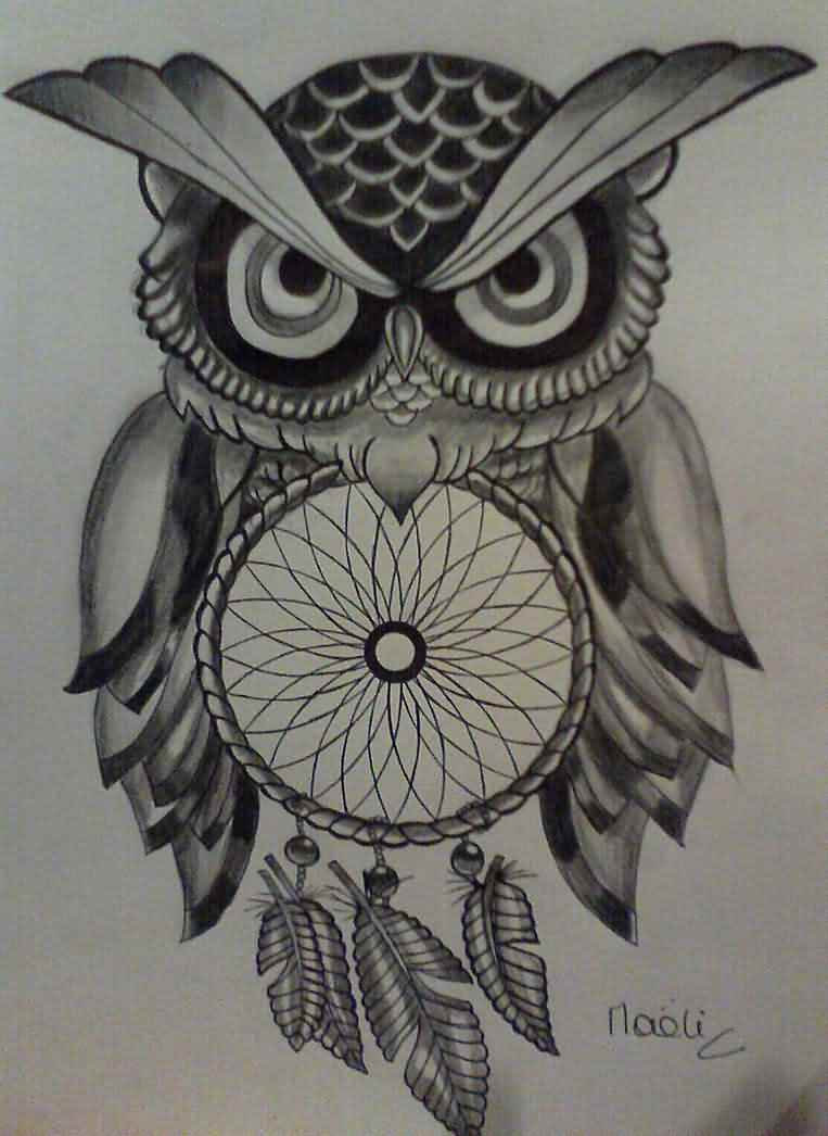 Owl And Dreamcatcher Tattoo Model