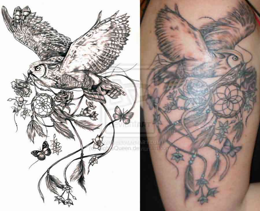 Owl And Dreamcatcher Tattoos On Arm