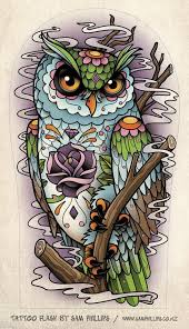 Owl And Flames Tattoos Design