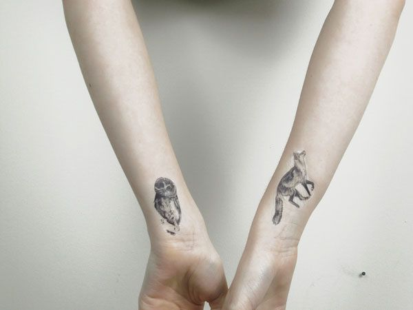 Owl And Fox Wrist Tattoos