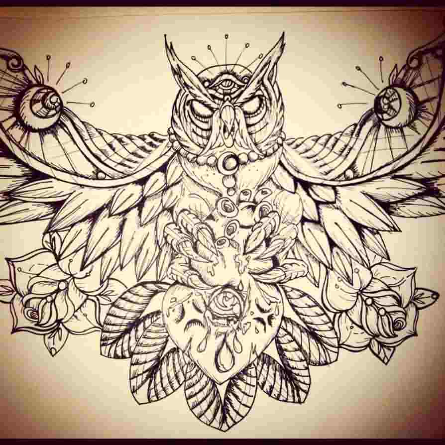 Owl And Heart Tattoo Design
