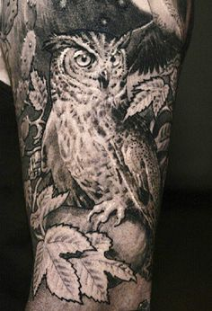 Owl And Leaves Tattoos On Sleeve