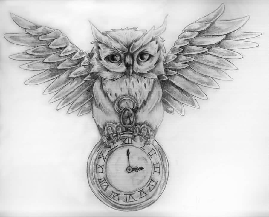 Owl And Pocket Watch Tattoos Sketch