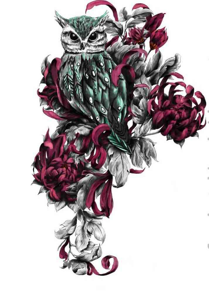 Owl And Red Flower Tattoo Designs