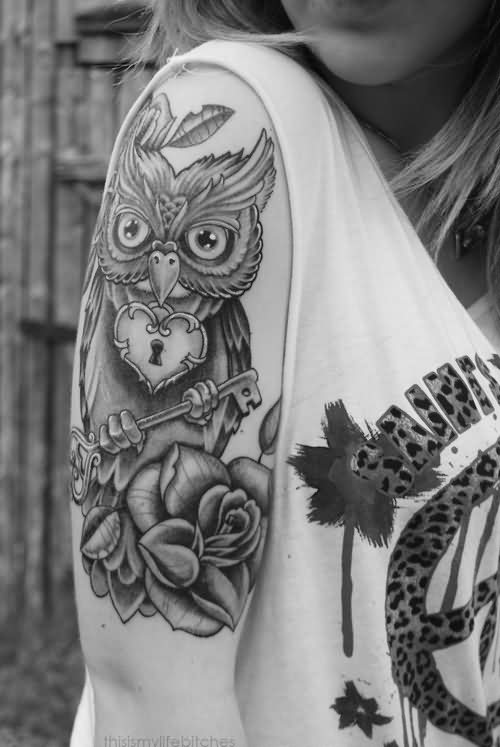 Owl And Rose Tattoos On Arm