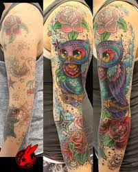 Owl And Rose Tattoos On Left Sleeve