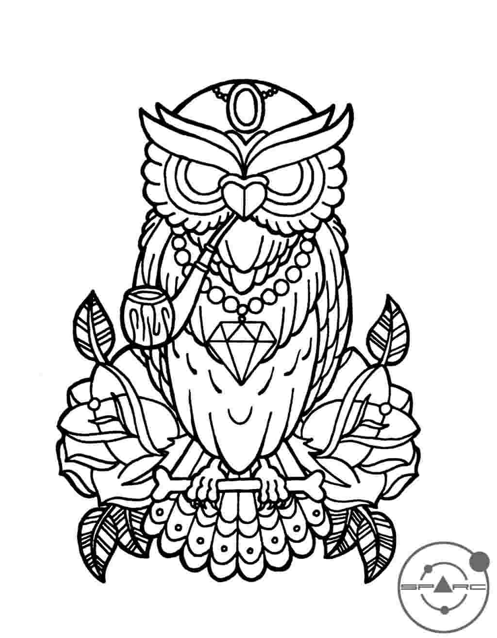 Owl And Roses Tattoos Sample