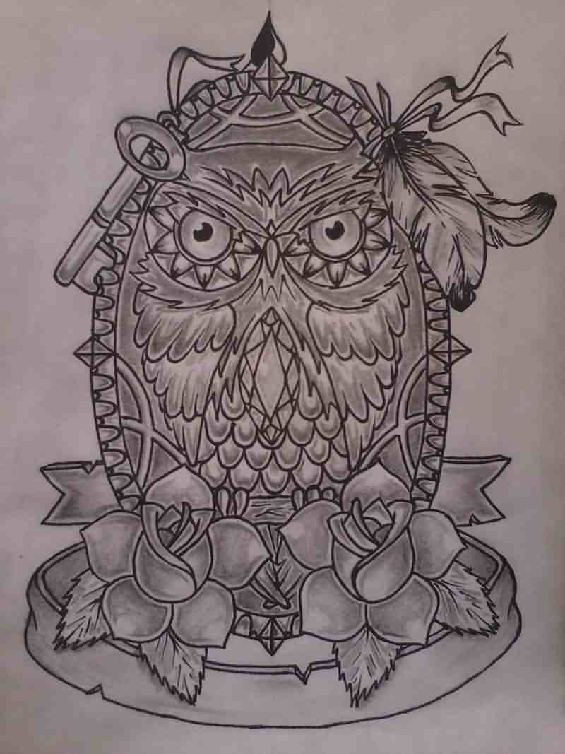 Owl And Roses Tattoos Sketch