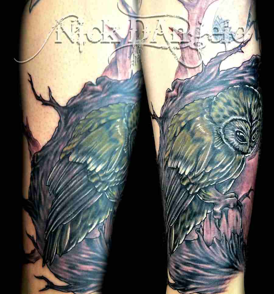 Owl And Tree Sleeve Tattoos