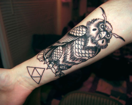 Owl And Triangle Tattoos On Lower Arm