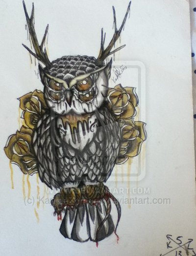 Owl And Yellow Roses Tattoos Flash