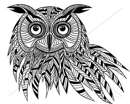 Owl Bird Head Tattoo Design