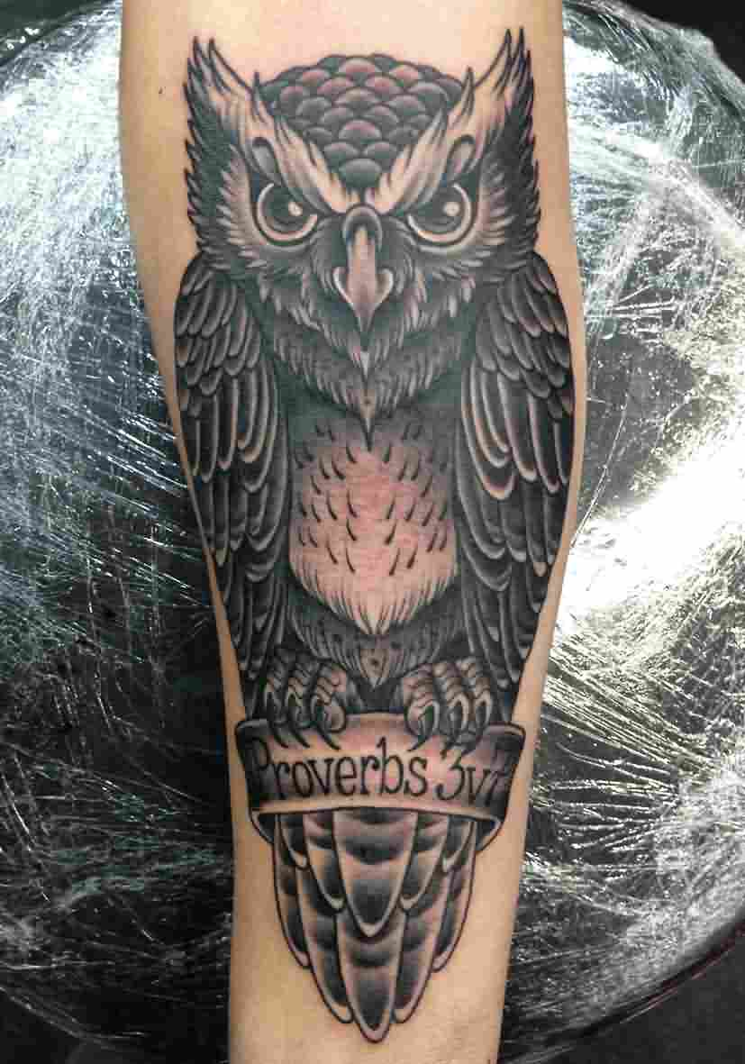 Owl Black And Grey Tattoo