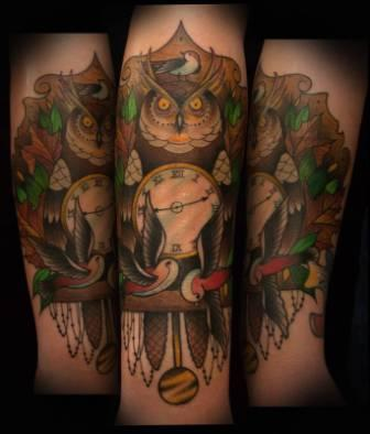 Owl Clock And Bird Tattoos
