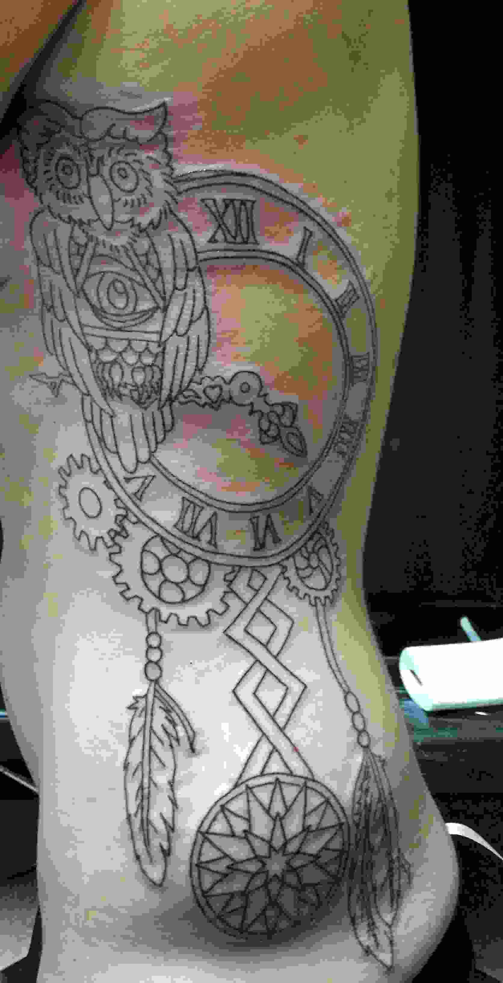 Owl Clock And Dreamcatcher Tattoos On Ribs