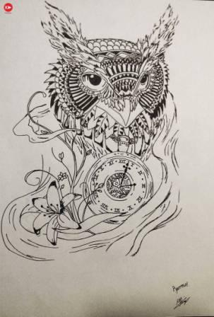 Owl Clock And Flower Tattoos Print