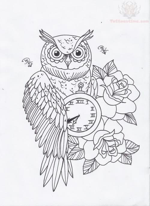 Owl Clock And Roses Tattoo Designs