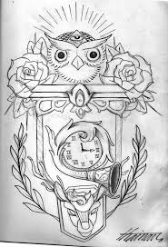 Owl Clock And Roses Tattoos Drawing