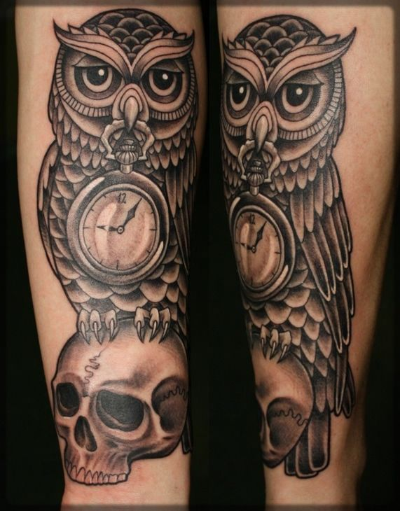Owl Clock On Skull Grey Ink Tattoo