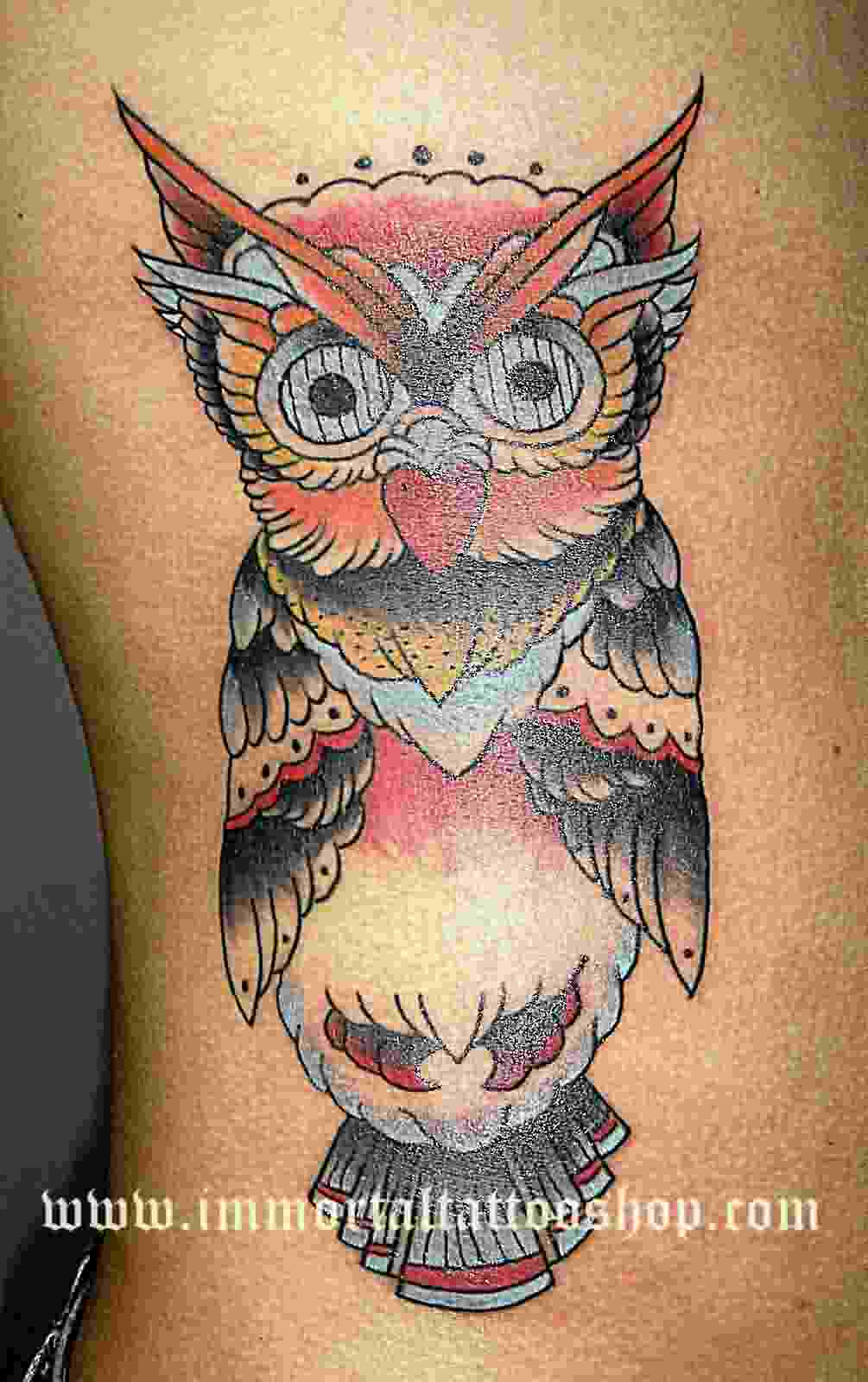 Owl Colorful Tattoo