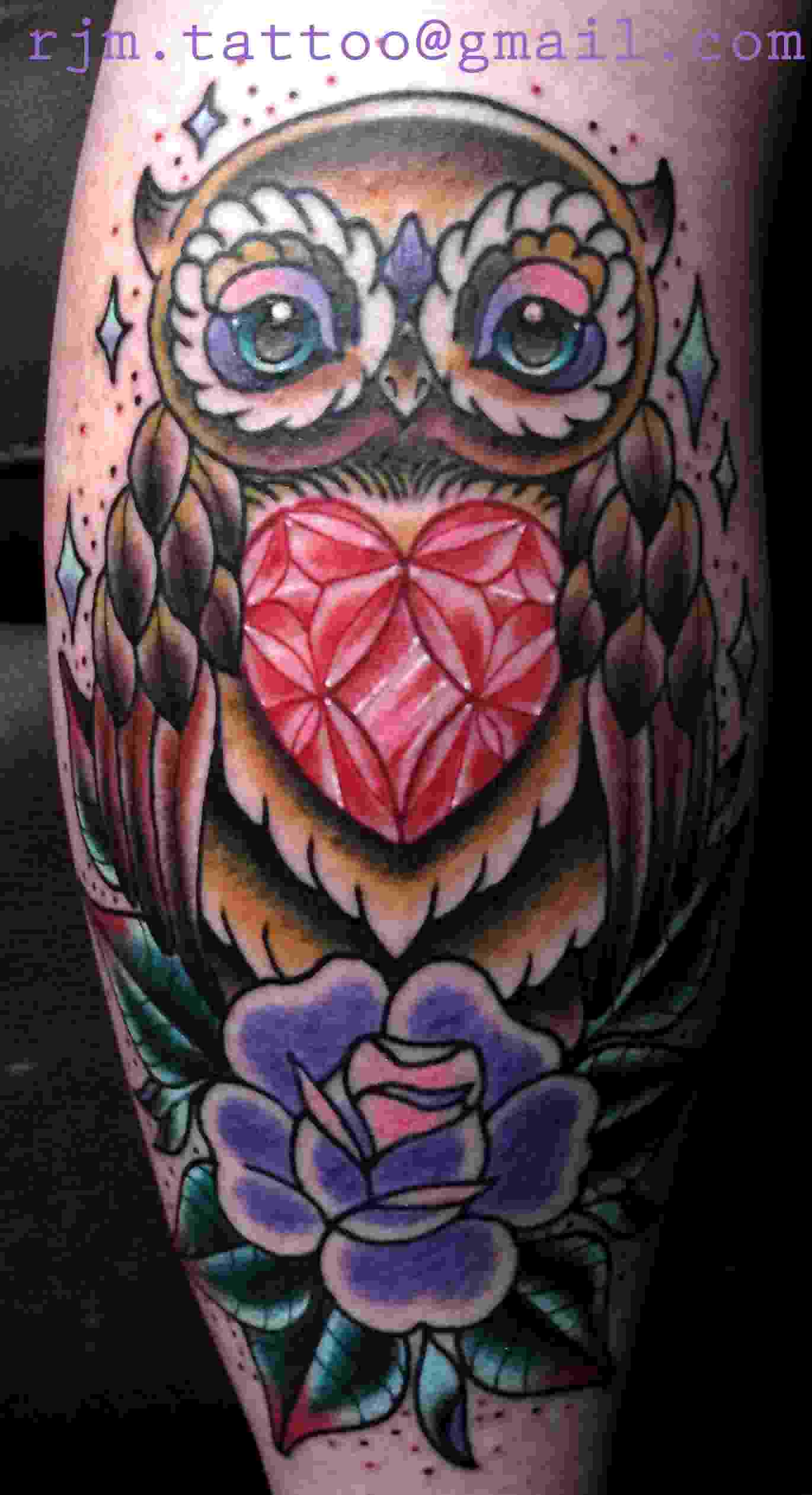 Owl Damond And Purple Rose Tattoos