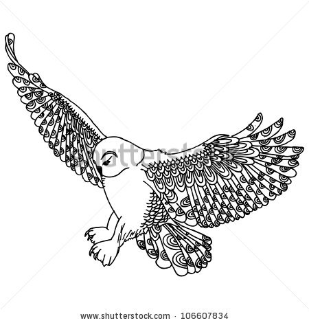 Owl Flying Tattoo Design